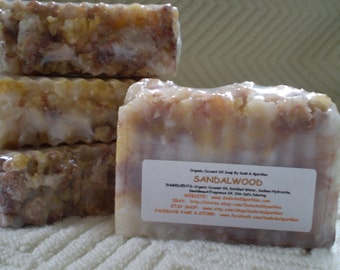 Sandalwood Organic 100% Coconut Oil Soap Bar - 5-6oz. Each