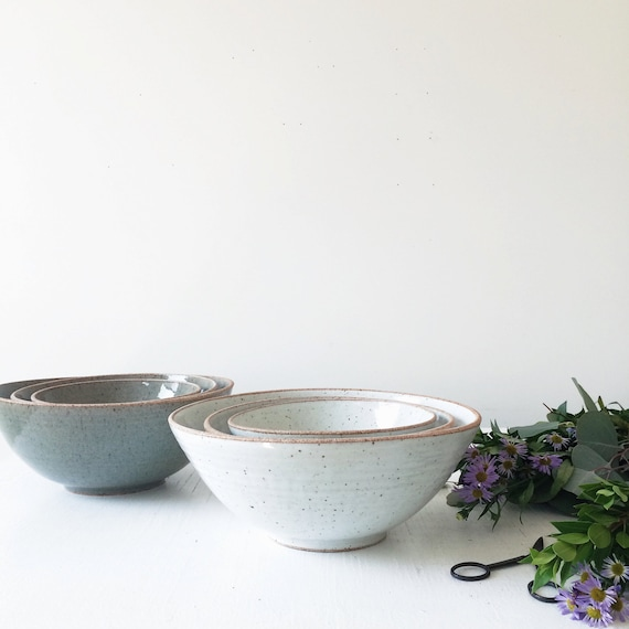 Handmade Ceramic Nesting Bowl Set, Rustic Pottery Nesting ...