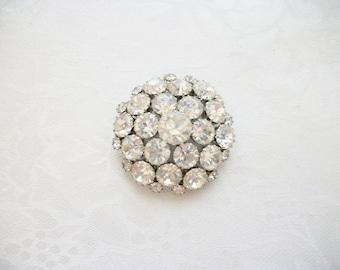 Vintage Clear Rhinestones Domed Round Brooch Silvertone Designer Gift Wedding Prom Homecoming