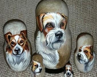 Kromfohrlander on Five Russian Nesting Dolls. Dogs.