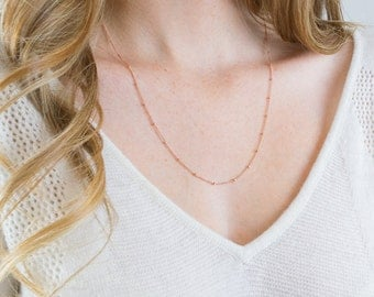 Rose Gold Necklace | Dainty necklace, Wedding necklace, Layering necklace, Minimalist, Simple necklace, Gift for Her, Rose gold jewelry