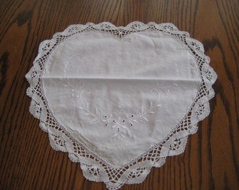 White cotton heart shaped doily, crochet border, floral embroidery, shabby cottage chic decor