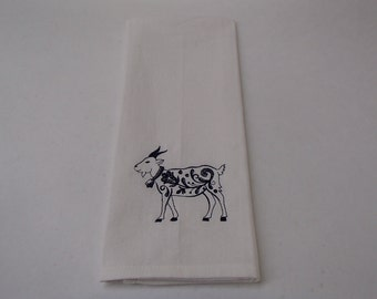 TWO Embroidered White Cotton Dish Towels Scandinavian Goat  #257