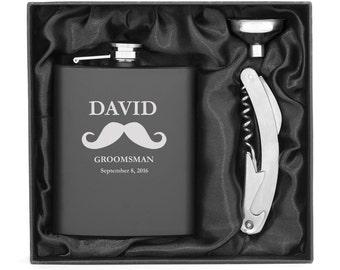 Engraved 7oz Stainless Steel Flask Funnel & Corkscrew Bottle Opener Mustache MATTE BLACK Personalized Custom Groomsman Groomsmen Wedding