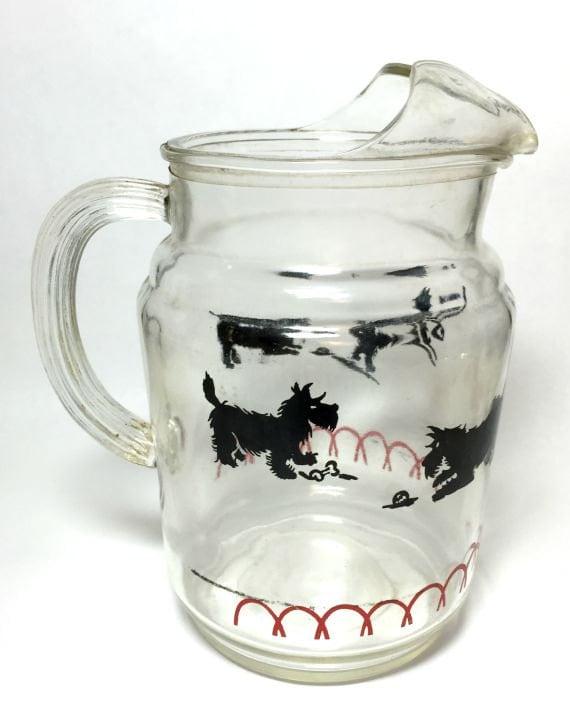 Vintage Scotty Dog Scottie Glass Pitcher Red Black Mid Century