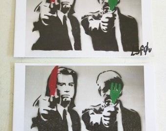 "2 Vegan Samuel Jackson Pulp Fiction Stickers Autographed l3f0u 5.5"" x 8.5"""