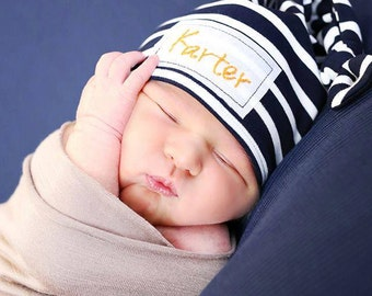 """The """"Karter"""" Hat.... Name Hat, Custom Name Hat, Photo Prop Hat, Beanie, Embroidered Hat, Baby Hat, Baby Name Hat, Newborn Hat, Hospital Hat"""