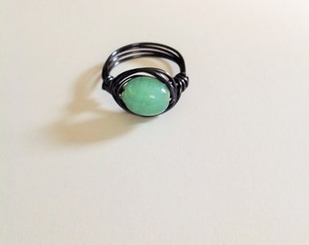 Sea foam green glass bead wire wrapped ring