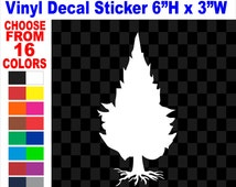 """Pine Tree + Roots Forest Trees Nature Outdoors Sugar Red Pitch Jack Slash Virginia Pine Vinyl Decal Sticker for Car Truck Laptop Wall 6""""-24"""""""