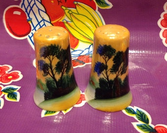 Vintage Japanese luster ware salt and pepper shakers- tree design