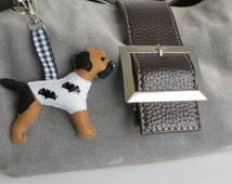 Blue and Tan Border Terrier Halloween Bats motif hand sewn felt bagcharm