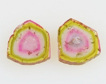 Watermelon Tourmaline Slices Large Polished Pair 24.18 carats