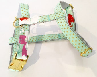 "Adjustable dog harness ""Mint&dots"""
