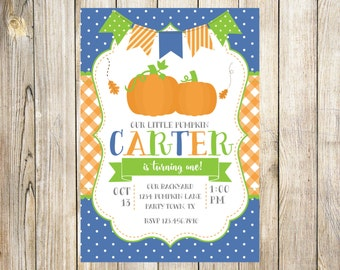Little Pumpkin Birthday Party Invitation