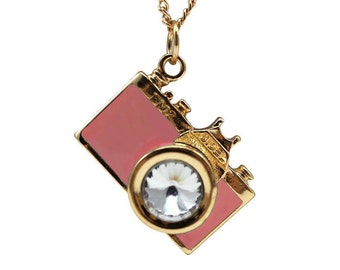 Gold and Pink Camera Necklace - Photography necklace