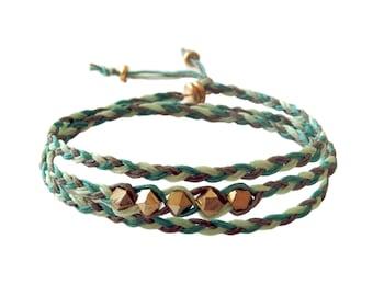 Beaded Triple Wrap Bracelet in Green