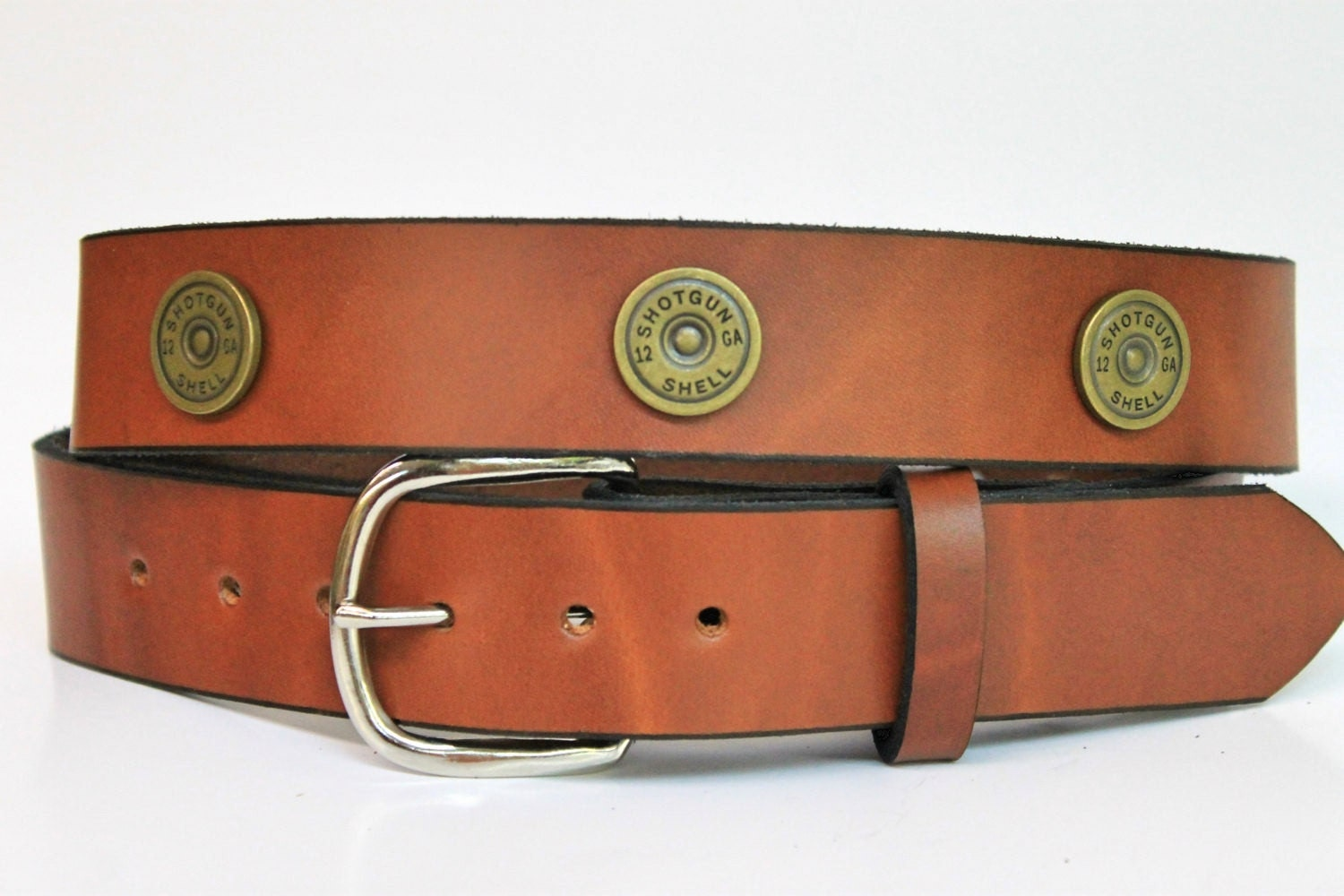handcrafted leather belt with shotgun shells