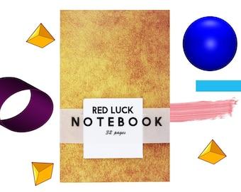 Mini Notebook   Pocket Journal   Red Luck Notebook - Brown