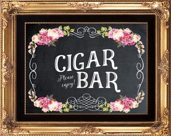 printable Cigar Bar sign, digital cigar bar sign, cigar bar sign, chalkboard cigar bar sign, 8 x 10, you print
