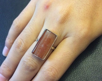 Vintage sterling silver handmade ring, 925 silver with agate ring, size 7, stamped 925