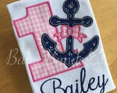 Personalized First Birthday outfit, Anchor Outfit, Nautical Birthday Outfit