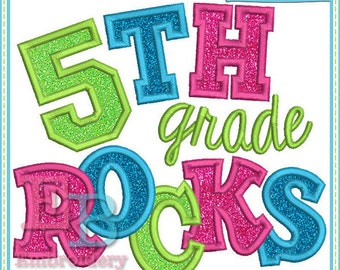 Fifth Grade Rocks Applique - This design is to be used on an embroidery machine. Instant Download