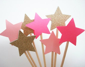 Set of 24Pcs - Gold Glitter & Pink MIX Star Party Picks, Cupcake Toppers, Toothpicks, Food Picks