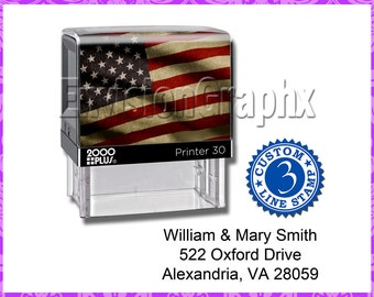 Custom Personalized 3 Line Address / Message Self Inking Rubber Stamp American Flag Theme