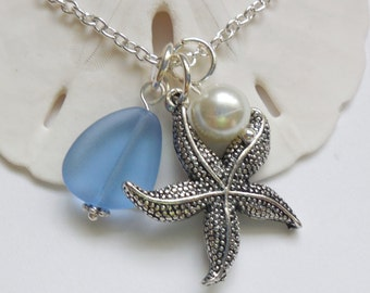 Sapphire Blue Sea Glass Necklace,Seaglass Jewelry,Charm necklace,Pearl,Starfish Necklace,Bridesmaid necklace,Beach wedding. FREE US SHIPPING