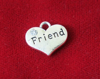 """5pc """"friend"""" charms in antique silver style (BC763)"""
