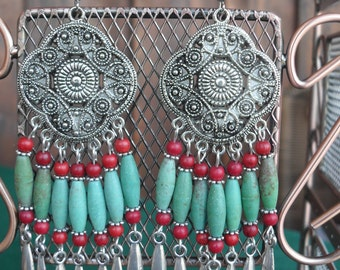 earrings, dangle earrings, boho earrings, long earrings, boho chic, cowgirl chic, southwestern, bohemian, tribal