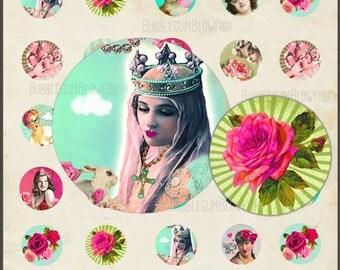 ColOrful ViNtAGe WhiMsy vintage ladies roses whimsical pretty Jewelry or Cabochon art Digital Collage Sheet 1 in. rounds