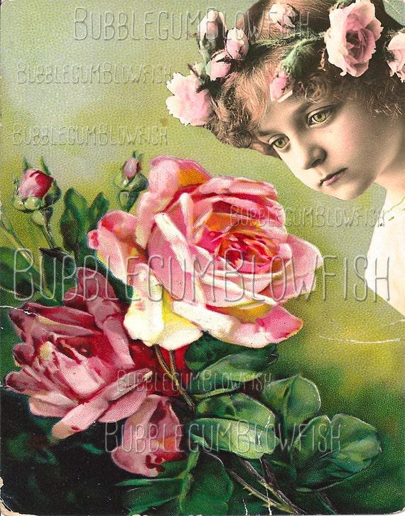 beautiful green eyes lovely vintage rose postcard digital. Black Bedroom Furniture Sets. Home Design Ideas