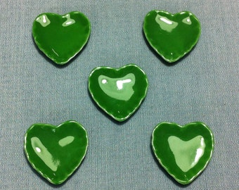 Plates 5 Dishes Miniature Hand Painted Green Hearts Ceramic Supply Tiny Small Dish Plate Tray Dollhouse Display Decoration Supplies Jewelry