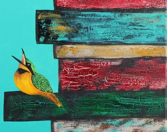 Giclee PRINT 9x12 Original Golden Yellow Green Bird on Books Fly Feathers Art Nature Acrylic Painting Rustic Warm Contemporary