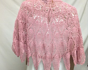 Poncho top,Crochet,pink, Knit ,Poncho ,Beaded ,Feather Tie,Medium