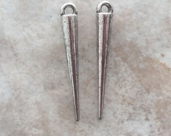 34mm Long Alloy Metal Spike Beads in Antique Silver Color (i176)