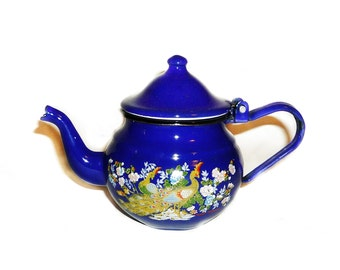 Vintage blue enamel teapot, Rustic home decor, Retro kitchen decoration, Collectible teapot, Old mini kettle Vintage collectibles
