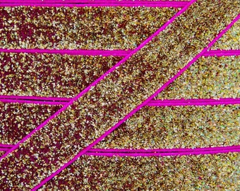 Gold & Hot Pink 5/8 inch Glitter Elastic - Elastic For Baby Headbands and Hair Ties - 5 Yards of 5/8 inch Glitter FOE