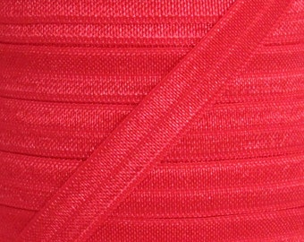 Red Fold Over Elastic - Elastic For Baby Headbands and Hair Ties - 5 Yards of 3/8 inch FOE