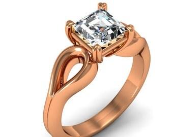 1/2 Carat 18K Rose Gold Asscher Diamond Engagement Ring