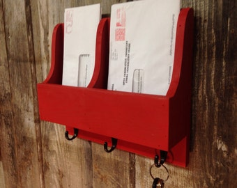 Mail Organizer, Letter Holder, Key Holder with Three Hooks, Rustic Two Slot Mail Organizer