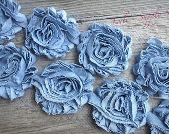 """1/2 Yard - 2.5"""" Light DENIM Shabby Rose Trim - Shabby Denim Rosettes - Shabby Denim Flowers - Flowers by the Yard - 2.5"""" Shabby Flowers"""