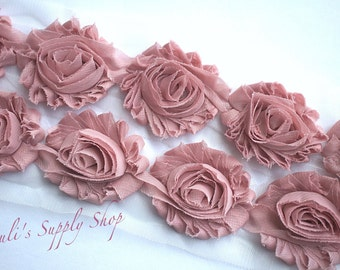 Dusty Rose Shabby Chiffon Flowers - Solid Shabby Rose Trim - Shabby Chiffon Rosettes - Flowers by the Yard - Headband Supplies