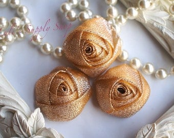 "Set of 3 Rolled Rosettes 1.5"" - Shimmer Yellow Gold Roses - Organza Fabric Rosettes - Glitter rosettes - Rolled flowers - Wholesale Supplies"