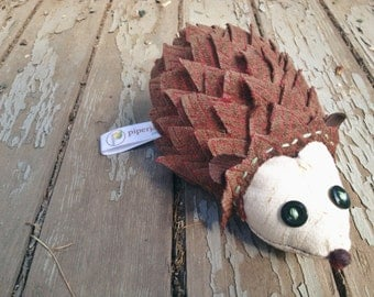 Stuffed Hedgehog Plush, ROSIE, Handmade Whimsical Soft Sculpture Hedgehog, Hedgehog Doll