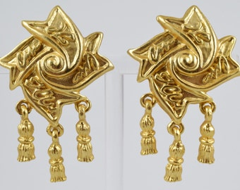 Elegant Vintage 80's Matte Gold-plated Metal Clip-on Earrings