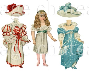 VICTORIAN PAPER DOLL Tuck 4 outfits Fashion 300 jpg artwork to print Digital Download craft Image Chateau
