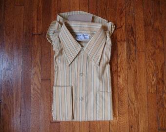 Vintage Deadstock 70s Royal Knight Striped Dress Shirt 15