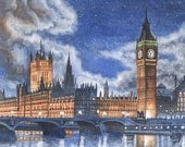Big Ben at night ORIGINAL watercolor painting, London in watercolor, English landscape, happy home decor by David Platt, FREE shipping